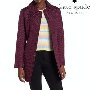 Kate Spade Quilted Snap Button Jacket Coat Red